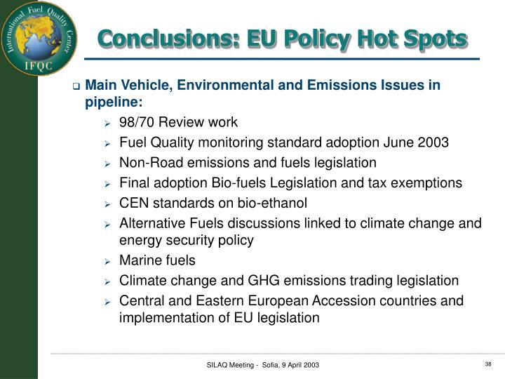 Conclusions: EU Policy Hot Spots