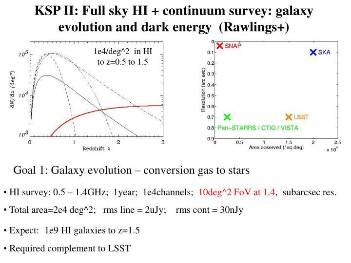 KSP II: Full sky HI + continuum survey: galaxy evolution and dark energy  (Rawlings+)