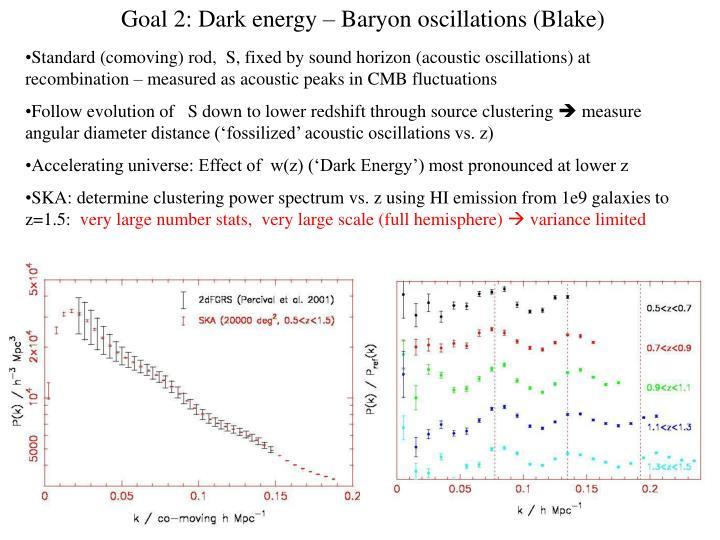 Goal 2: Dark energy – Baryon oscillations (Blake)