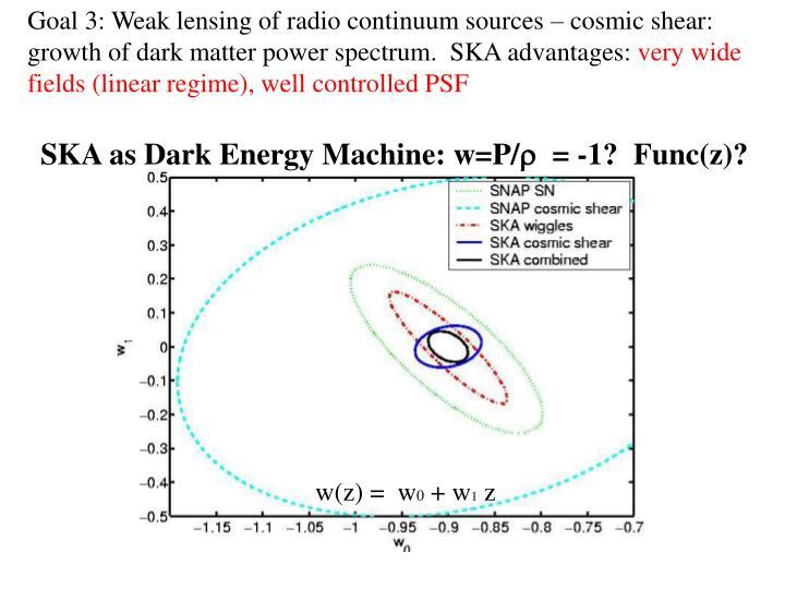 Goal 3: Weak lensing of radio continuum sources – cosmic shear: growth of dark matter power spectrum.  SKA advantages: