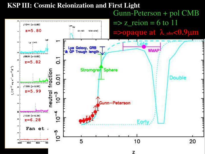 KSP III: Cosmic Reionization and First Light