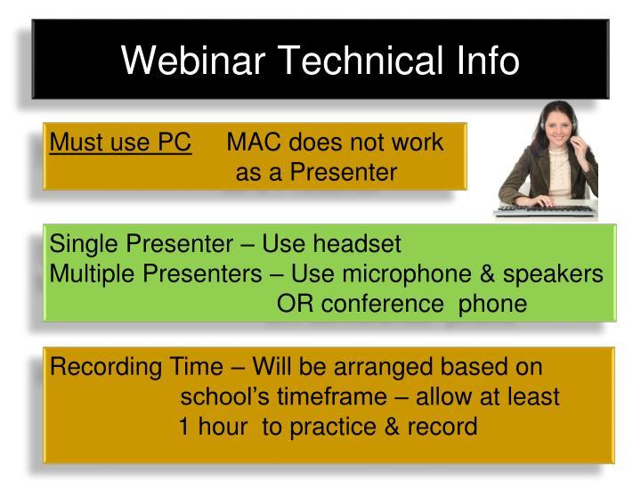 Webinar Technical Info