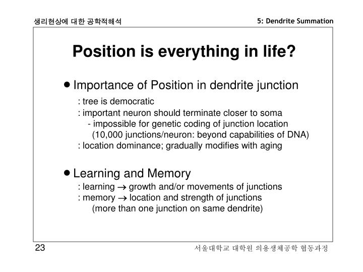 Position is everything in life?