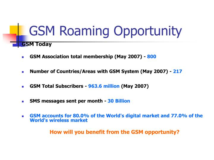 GSM Roaming Opportunity