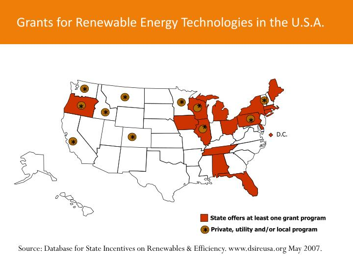 Grants for Renewable Energy Technologies in the U.S.A.