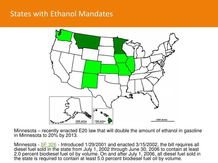 States with Ethanol Mandates