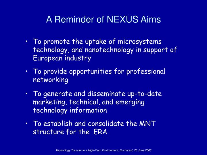 A reminder of nexus aims