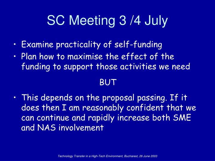 SC Meeting 3 /4 July