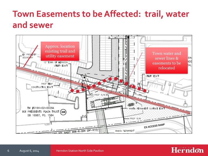 Town Easements to be Affected:  trail, water and sewer
