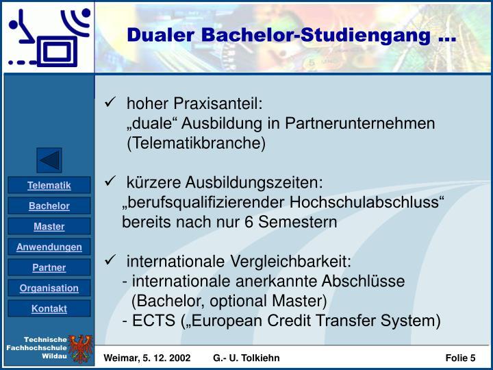 Dualer Bachelor-Studiengang ...
