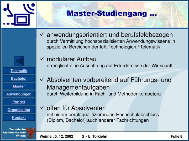 Master-Studiengang ...