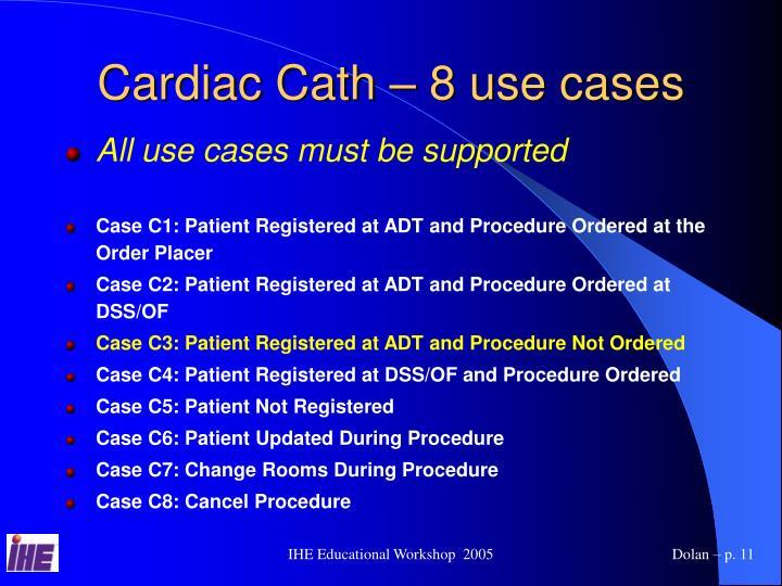 Cardiac Cath – 8 use cases