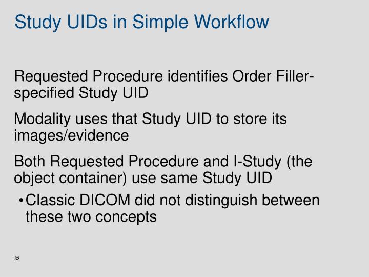 Study UIDs in Simple Workflow