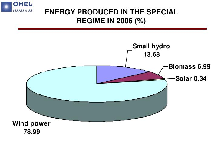 ENERGY PRODUCED IN THE SPECIAL REGIME IN 2006 (%)