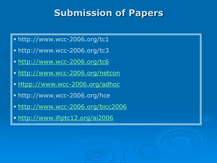 Submission of Papers