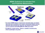 mems testbed for accelerated test and properties measurement