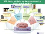 nsf center for high rate nanomanufacturing application road map