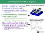 reliability accelerated test properties