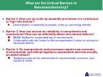 what are the critical barriers to nanomanufacturing
