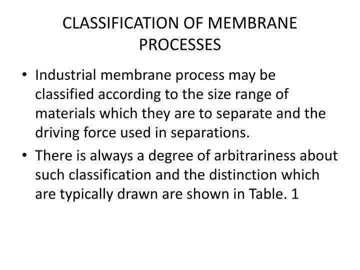 CLASSIFICATION OF MEMBRANE PROCESSES