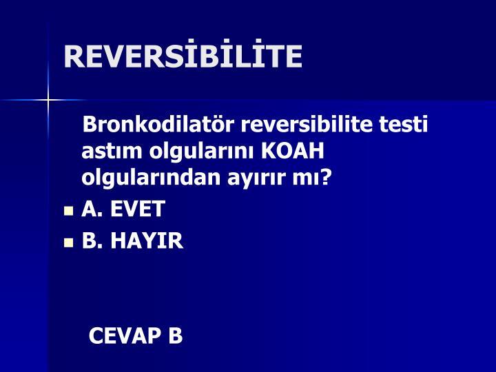 REVERSİBİLİTE