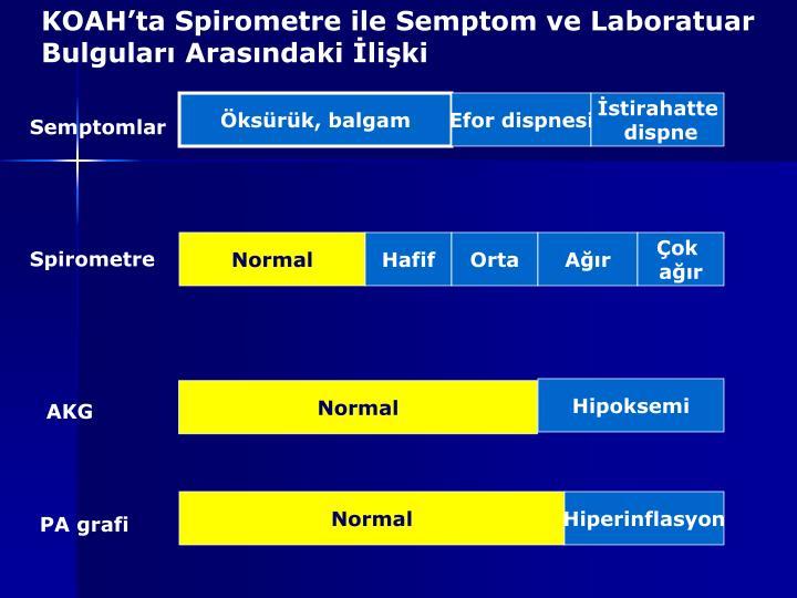 KOAH'ta Spirometre ile Semptom ve Laboratuar