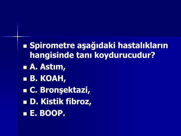 Spirometre aşağıdaki hastalıkların hangisinde tanı koydurucudur?