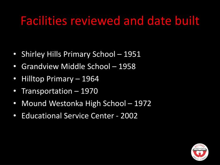 Facilities reviewed and date built