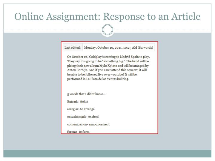 Online Assignment: Response to an Article