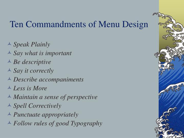 Ten commandments of menu design
