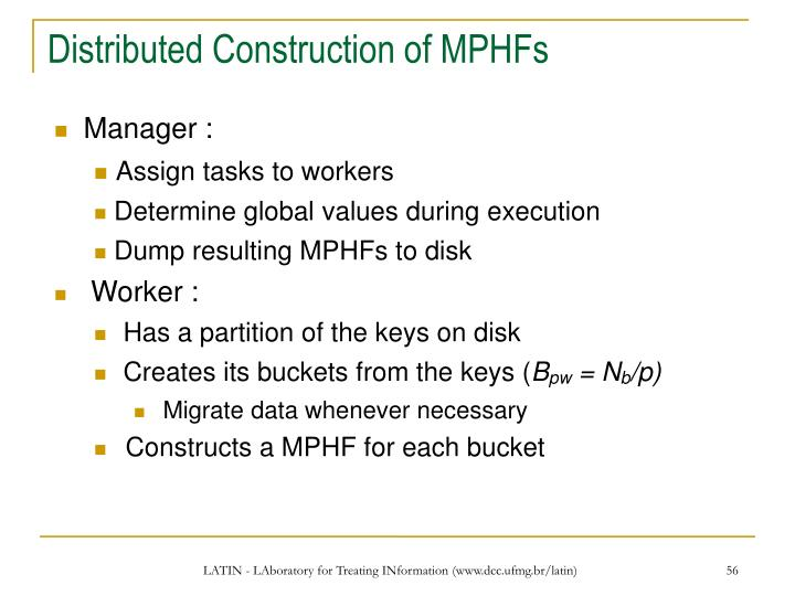 Distributed Construction of MPHFs