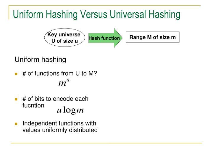 Uniform Hashing Versus Universal Hashing