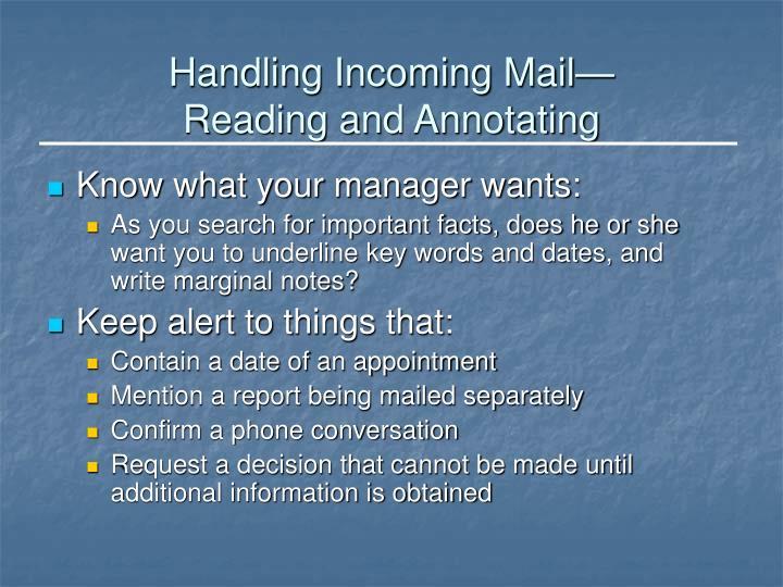Handling Incoming Mail—
