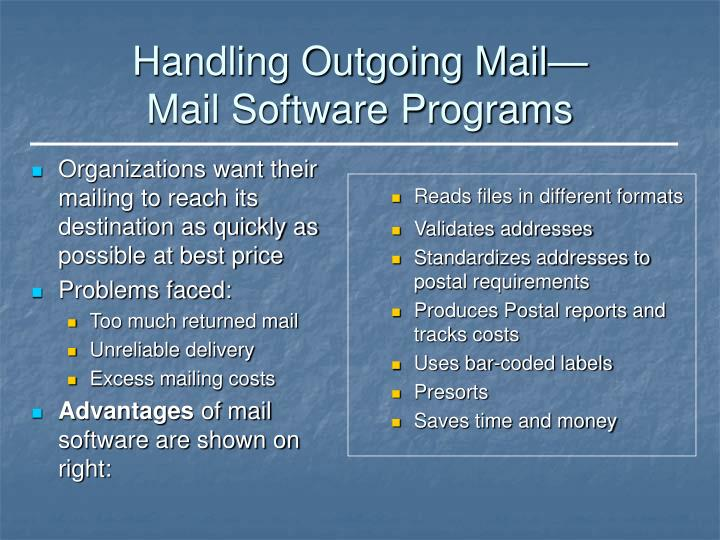 Organizations want their mailing to reach its destination as quickly as possible at best price