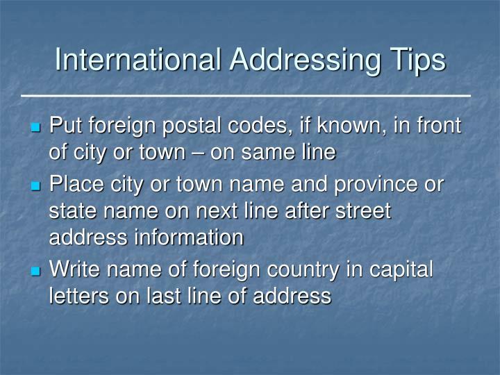 International Addressing Tips