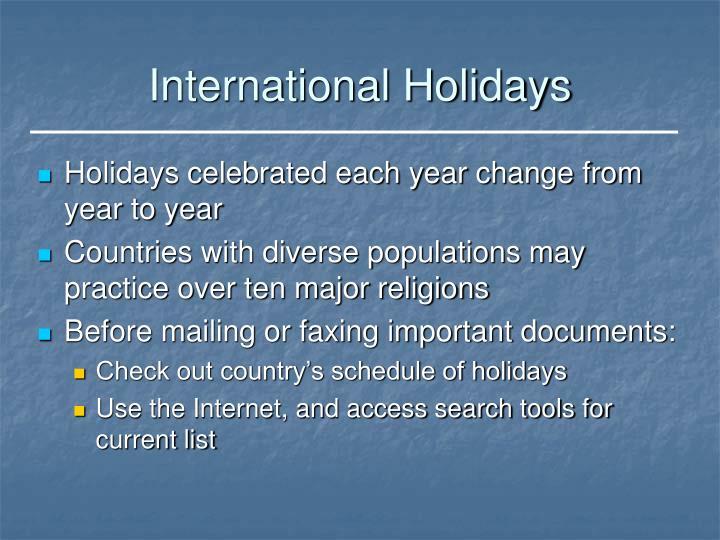 International Holidays