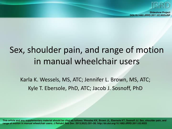 Sex shoulder pain and range of motion in manual wheelchair users