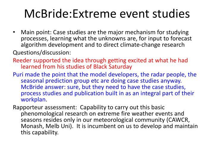 Mcbride extreme event studies