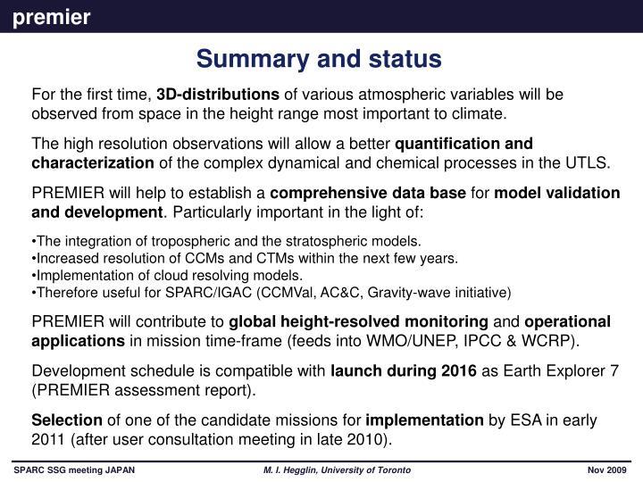 Summary and status