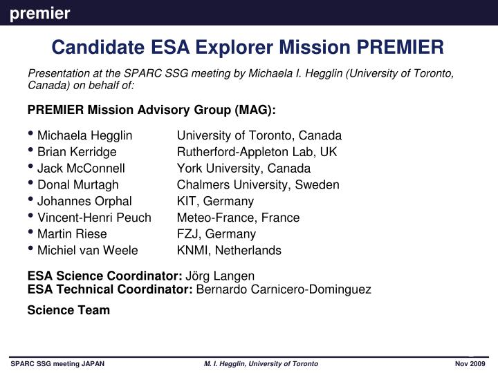 Presentation at the SPARC SSG meeting by Michaela I. Hegglin (University of Toronto, Canada) on beha...