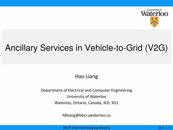 ancillary services in vehicle to grid v2g n.