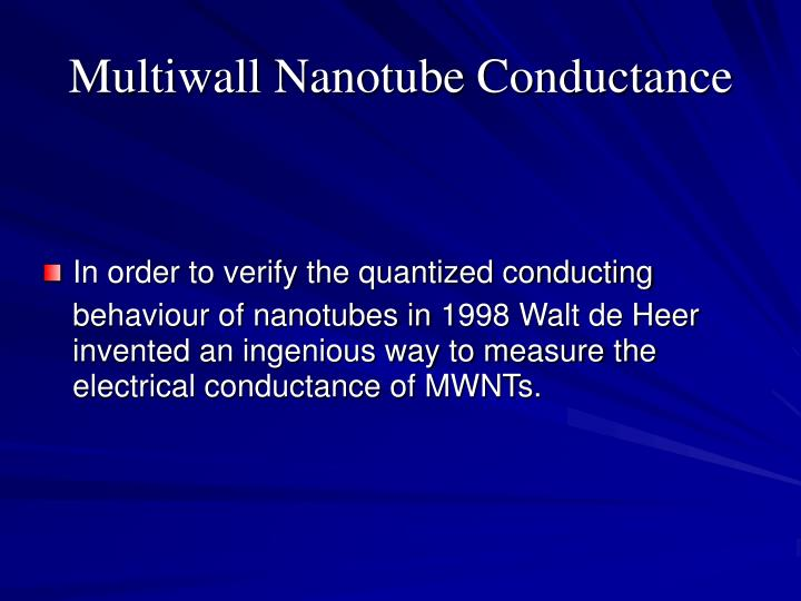 Multiwall Nanotube Conductance