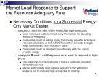 market load response to support the resource adequacy rule