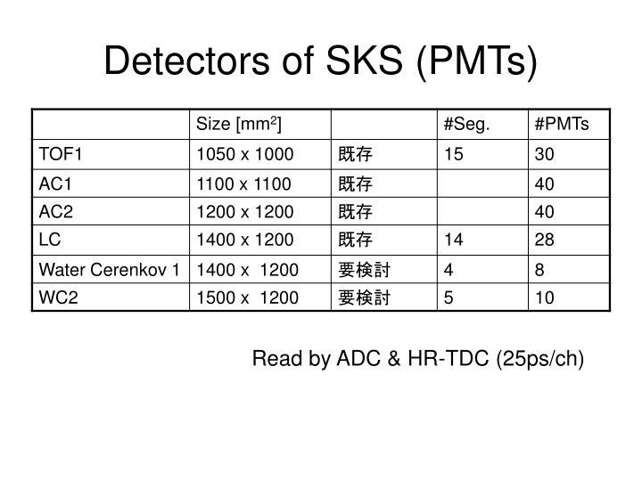 Detectors of SKS (PMTs)