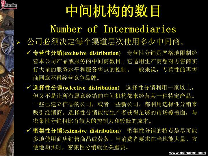 中间机构的数目