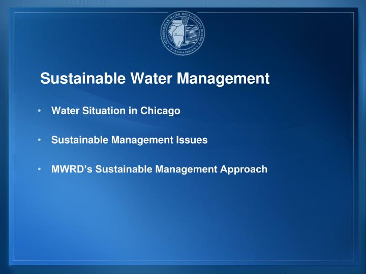 Sustainable water management1