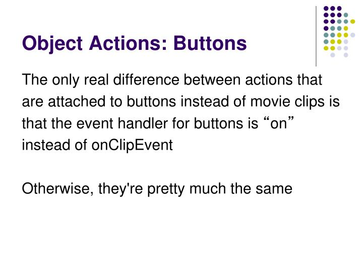 Object Actions: Buttons