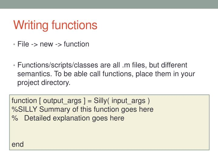Writing functions
