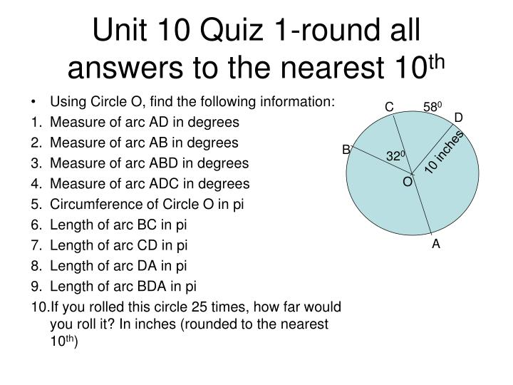 Unit 10 Quiz 1-round all answers to the nearest 10