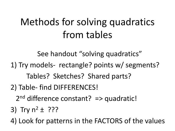 Methods for solving quadratics from tables